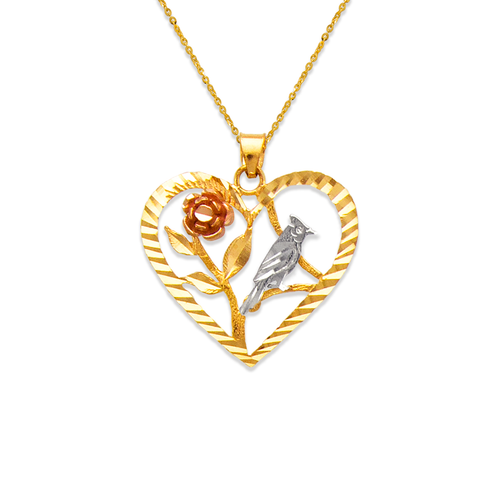 568-174 Rose and Dove Heart Pendant