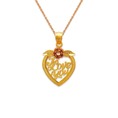 568-181 I Love You Rose Heart Pendant