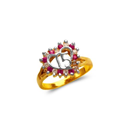 573-207 Ladies 15 Anos Heart Ring
