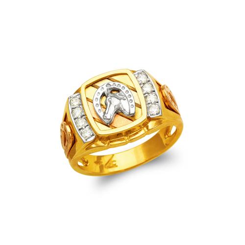 473-015 Men's Fancy Horse in Horseshoe CZ Ring