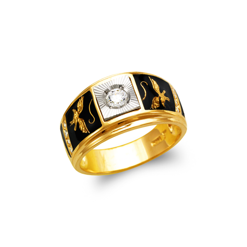 473-018 Men's Fancy Enamel Eagle CZ Ring