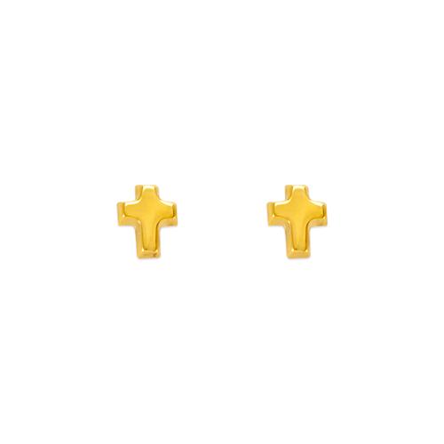 343-032 High Polished Cross Stud Earrings