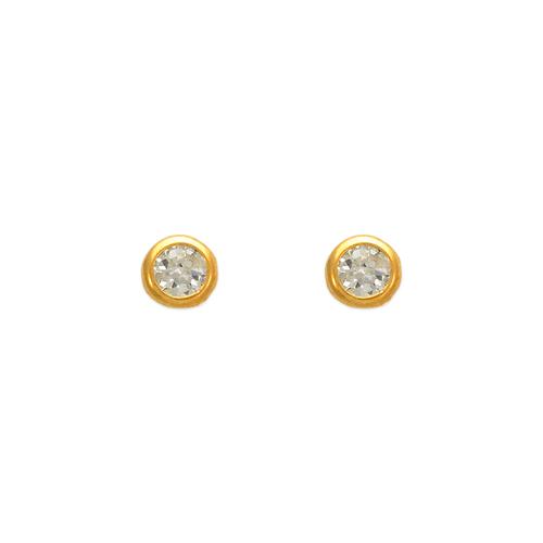 343-051 3mm Round Bezel CZ Stud Earrings
