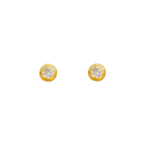 343-056 3mm Round D/C Bezel CZ Stud Earrings