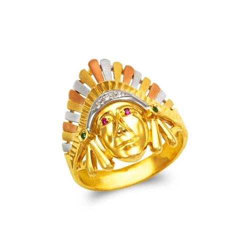 473-234 Men's Fancy Indian Chief CZ Ring