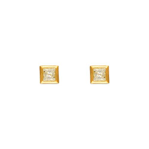 343-061 3mm Square Bezel CZ Stud Earrings