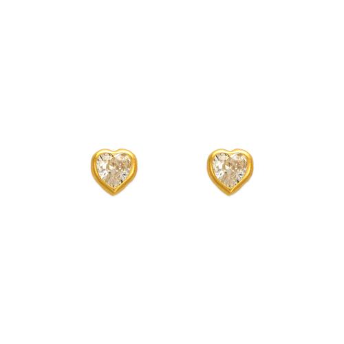 343-072 4mm Heart Bezel CZ Stud Earrings
