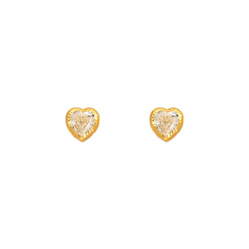 343-077 4mm Heart DC Bezel CZ Stud Earrings