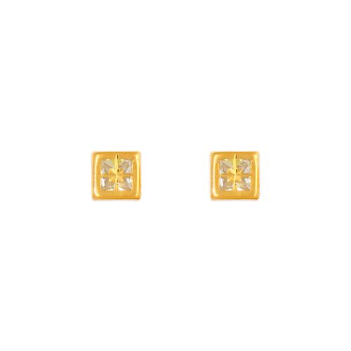343-081 4mm Square Bezel CZ Stud Earrings