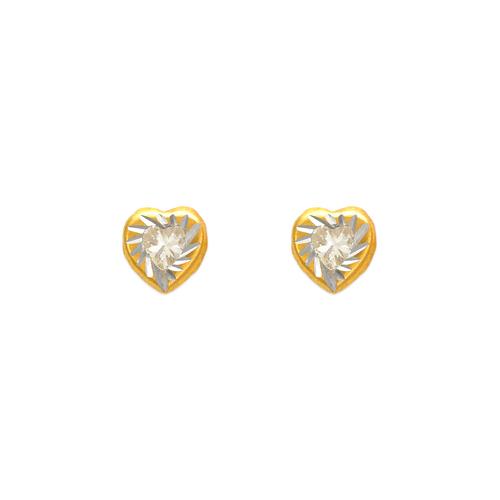 343-091 Heart Diamond Cut Bezel CZ Stud Earrings