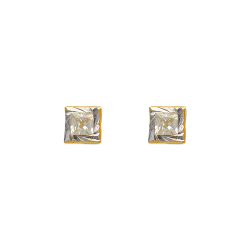 343-092 Square Diamond Cut CZ Stud Earrings