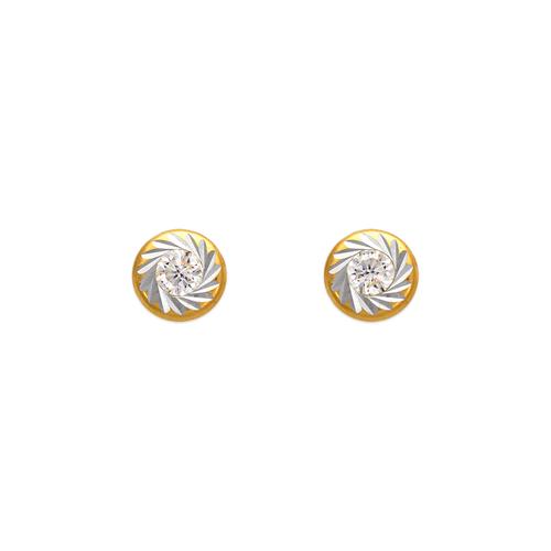 343-093 Round Diamond Cut Bezel CZ Stud Earrings
