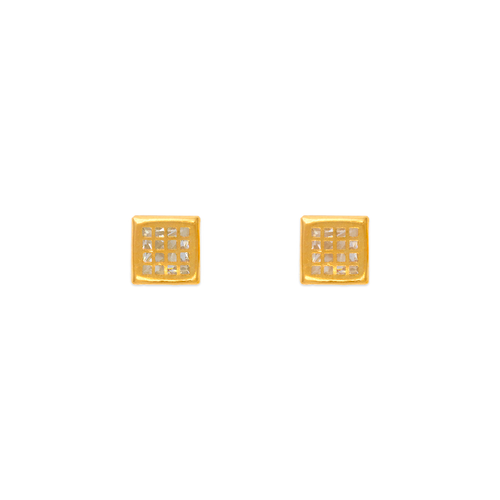 343-101 4mm Square Tiled CZ Stud Earrings