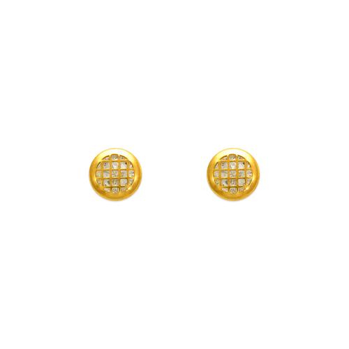 343-103 Round Tiled CZ Stud Earrings 5mm