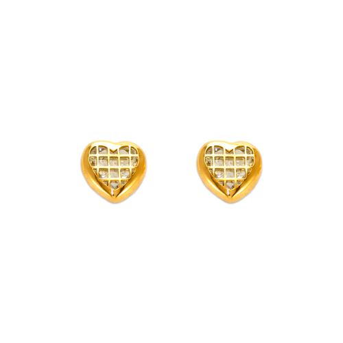 343-104 Heart Tiled CZ Stud Earrings 7mm