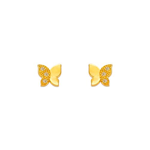 343-121 Butterfly Pave CZ Stud Earrings