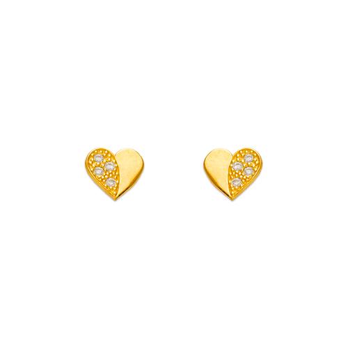 343-122 Heart Pave CZ Stud Earrings