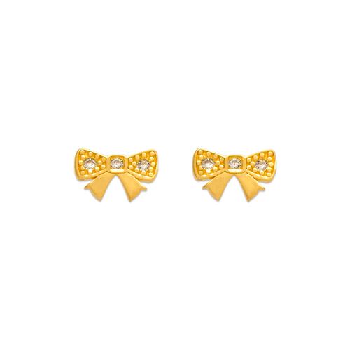 343-124 Ribbon Pave CZ Stud Earrings