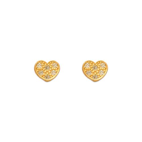 343-125 Heart Pave CZ Stud Earrings