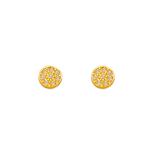 343-126 Round Pave CZ Stud Earrings