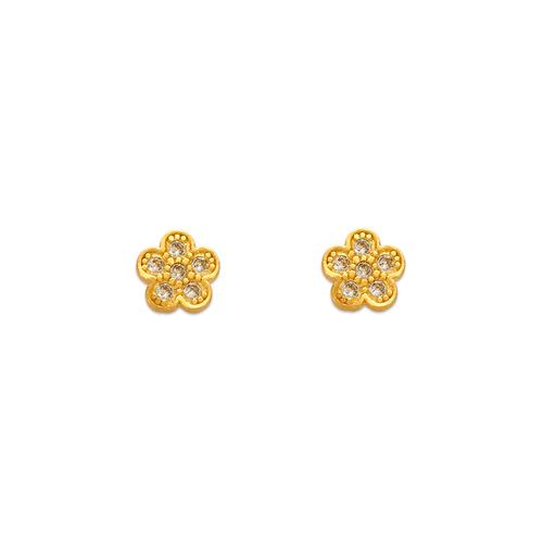 343-127 Flower Pave CZ Stud Earrings