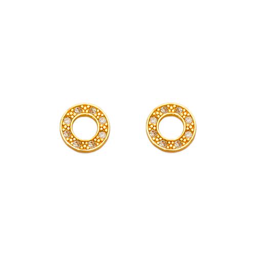 343-129 Donut Pave CZ Stud Earrings