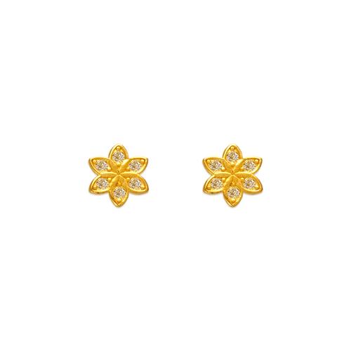 343-131 Sunflower Pave CZ Stud Earrings
