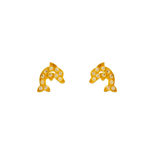 343-132 Dolphin Pave CZ Stud Earrings