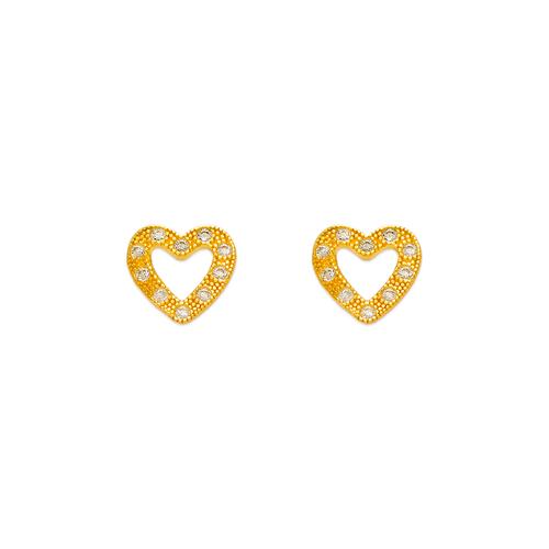 343-133 Heart Frame Pave CZ Stud Earrings