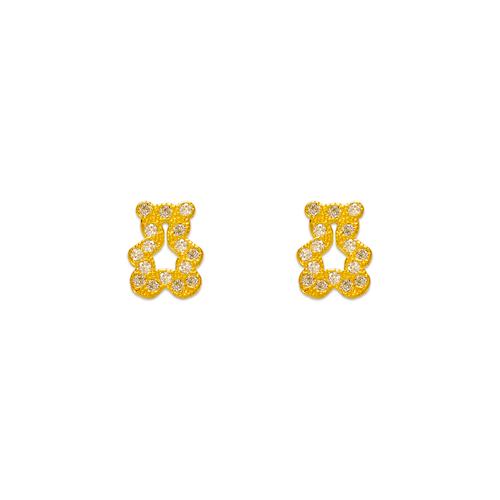 343-134 Bear Pave CZ Stud Earrings