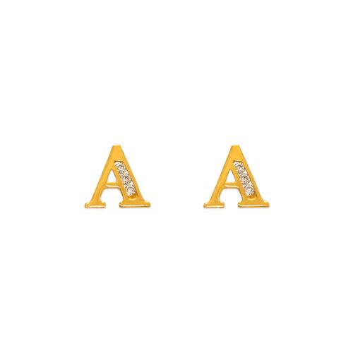 "583-102A Initial ""A"" Stud Earrings"