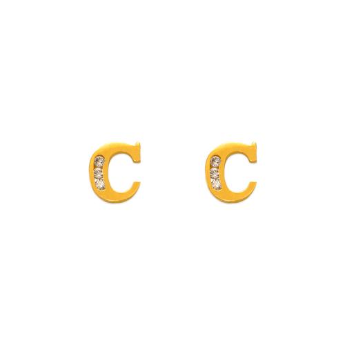 """583-102C Initial """"C"""" Stud Earrings"""