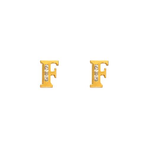 "583-102F Initial ""F"" Stud Earrings"