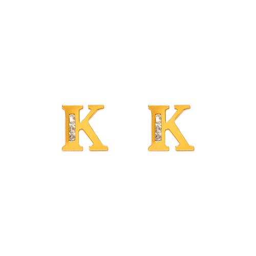"583-102K Initial ""K"" Stud Earrings"