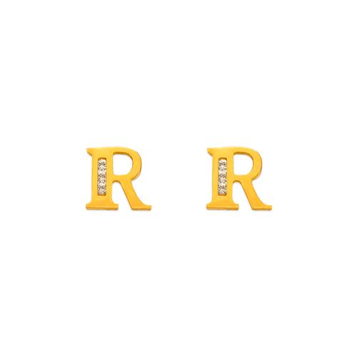 """583-102R Initial """"R"""" Stud Earrings"""