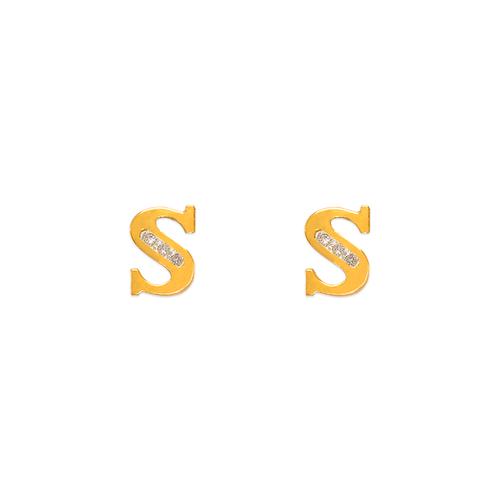 "583-102S Initial ""S"" Stud Earrings"