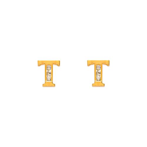 """583-102T Initial """"T"""" Stud Earrings"""