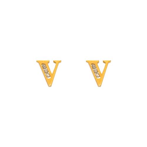 """583-102V Initial """"V"""" Stud Earrings"""