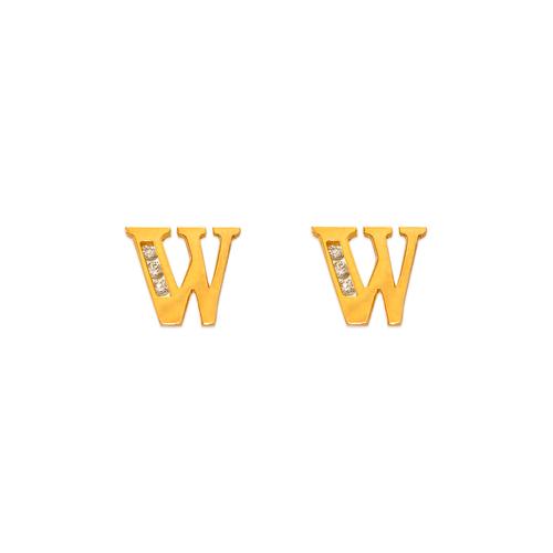 """583-102W Initial """"W"""" Stud Earrings"""