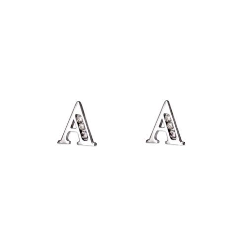 "583-102WA Initial ""A"" Stud Earrings"
