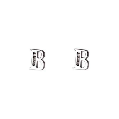 "583-102WB Initial ""B"" Stud Earrings"