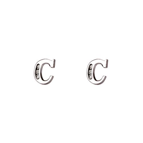 """583-102WC Initial """"C"""" Stud Earrings"""