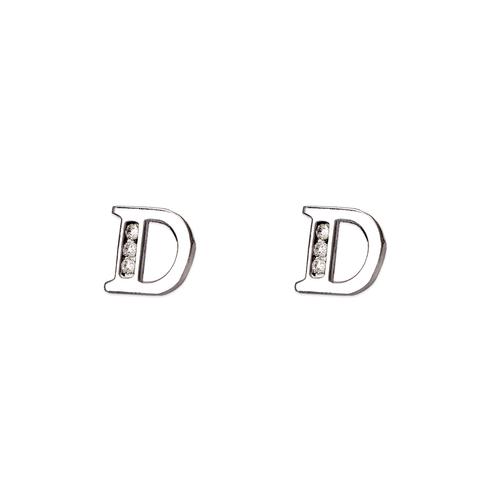 """583-102WD Initial """"D"""" Stud Earrings"""