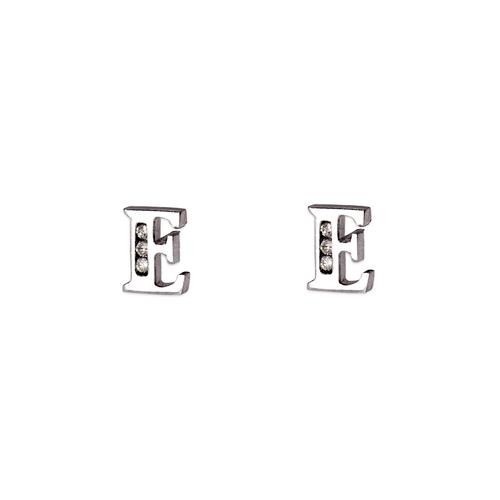 "583-102WE Initial ""E"" Stud Earrings"