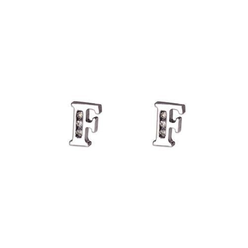 "583-102WF Initial ""F"" Stud Earrings"