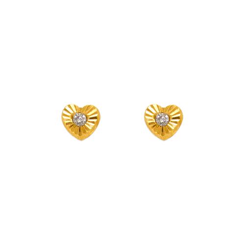 343-201 Mini Heart CZ Stud Earrings