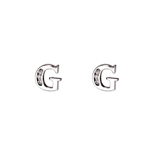 """583-102WG Initial """"G"""" Stud Earrings"""