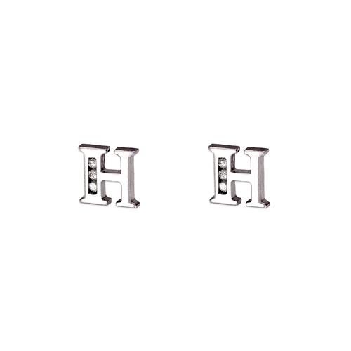 """583-102WH Initial """"H"""" Stud Earrings"""