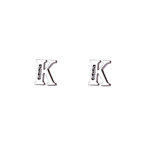 """583-102WK Initial """"K"""" Stud Earrings"""