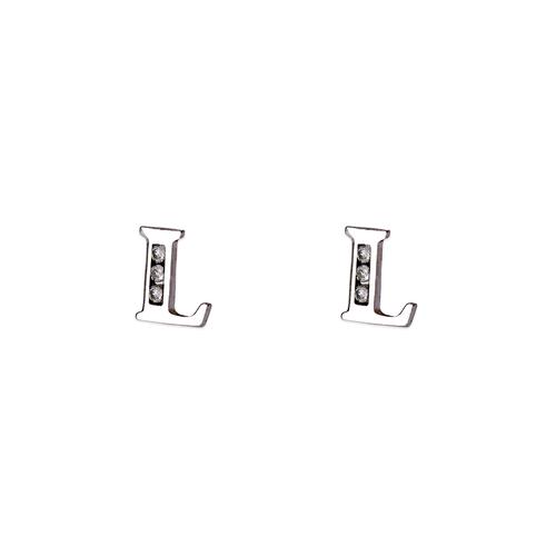 "583-102WL Initial ""L"" Stud Earrings"